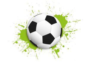 Fußball mit Farbklecks
