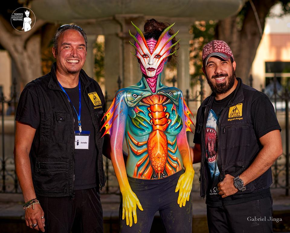 matteo arfanotti und miguel angel bodypainting festival teneriffa 2018