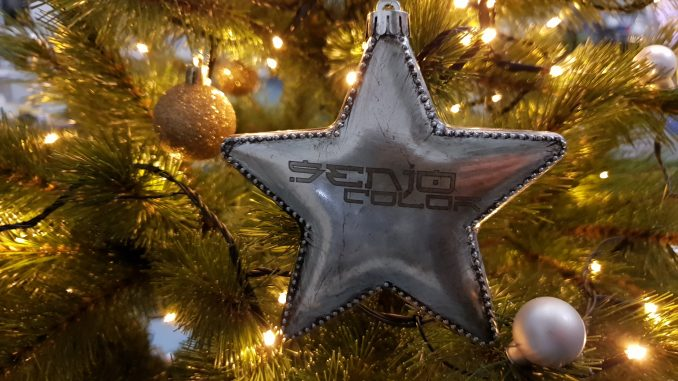 Senjo Color Weihnachtsstern am Baum