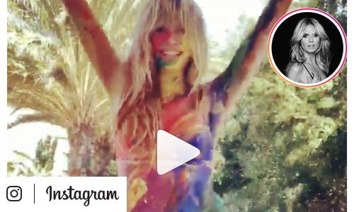 Heidi Klum tanzt im Bodypainting Outfit in Regenbogenfarben